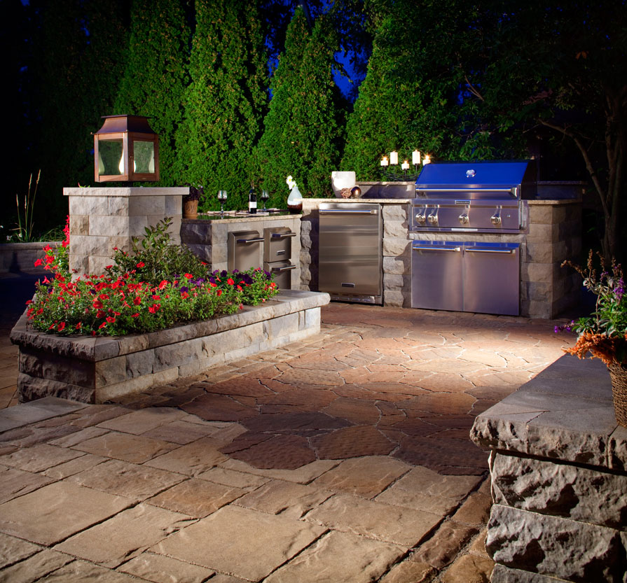 Outdoor kitchens and lighting cutting edge hardscapes aloadofball