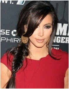 Messy-fishtail-braid Kim Kardashian - G Michael Salon
