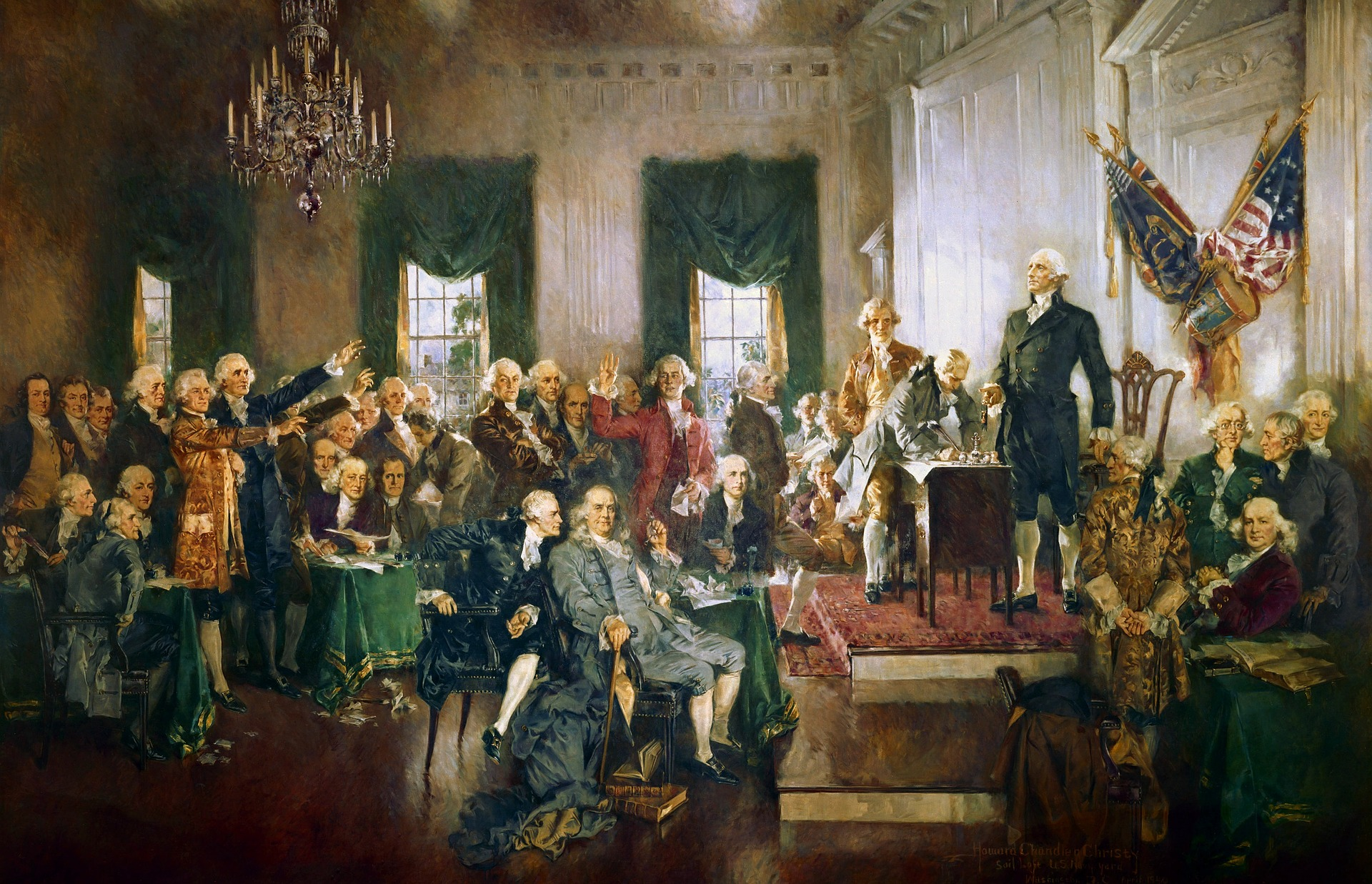 "Howard Chandler Christy's ""Scene at the Signing of the Constitution of the United States"""